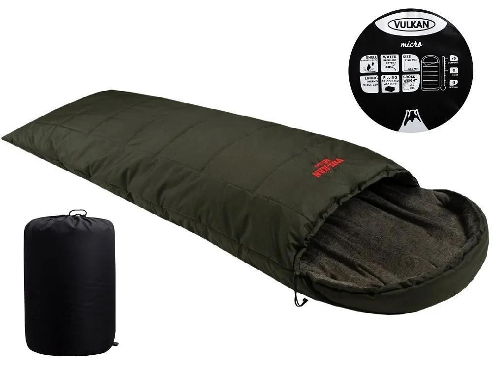 Спальный мешок vulkan micro меланж хаки, черный фото №1