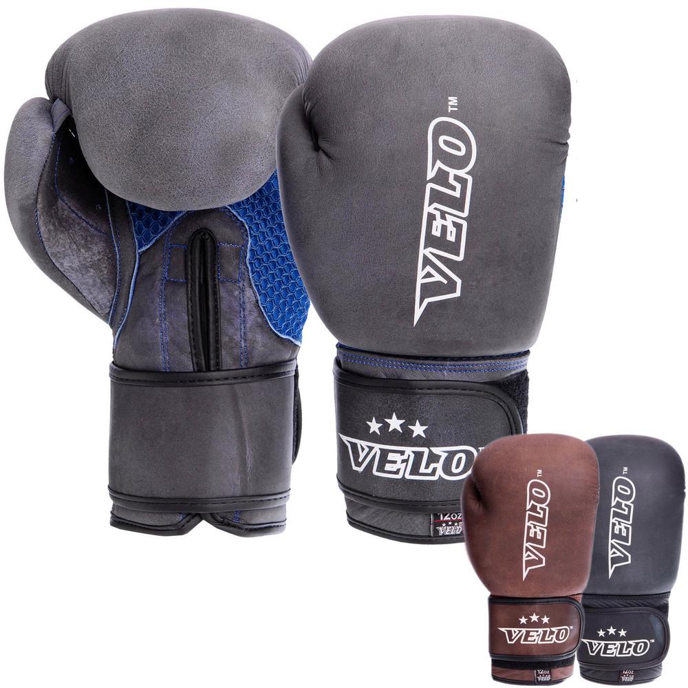 Перчатки боксерские кожаные на липучке velo 2209: 10-12 унций (3 цвета) фото №1