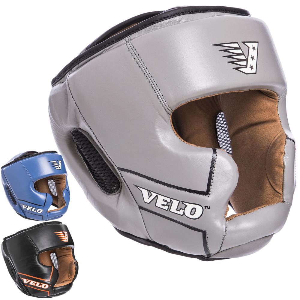 Шлем боксерский с полной защитой кожаный velo 2219: размер м-xl (3 цвета) фото №1