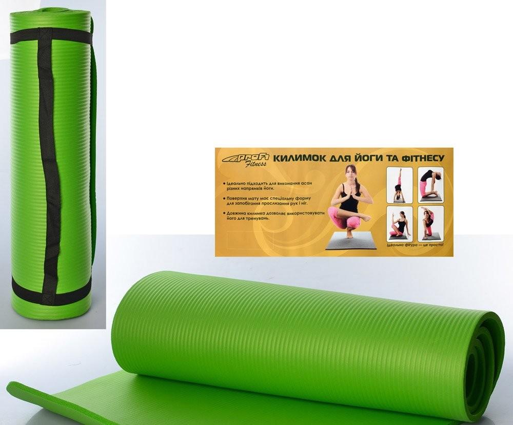 Йогамат мат для йоги и фитнеса из вспененного каучука profi nbr 183х61см толщина 10 мм зеленый фото №1