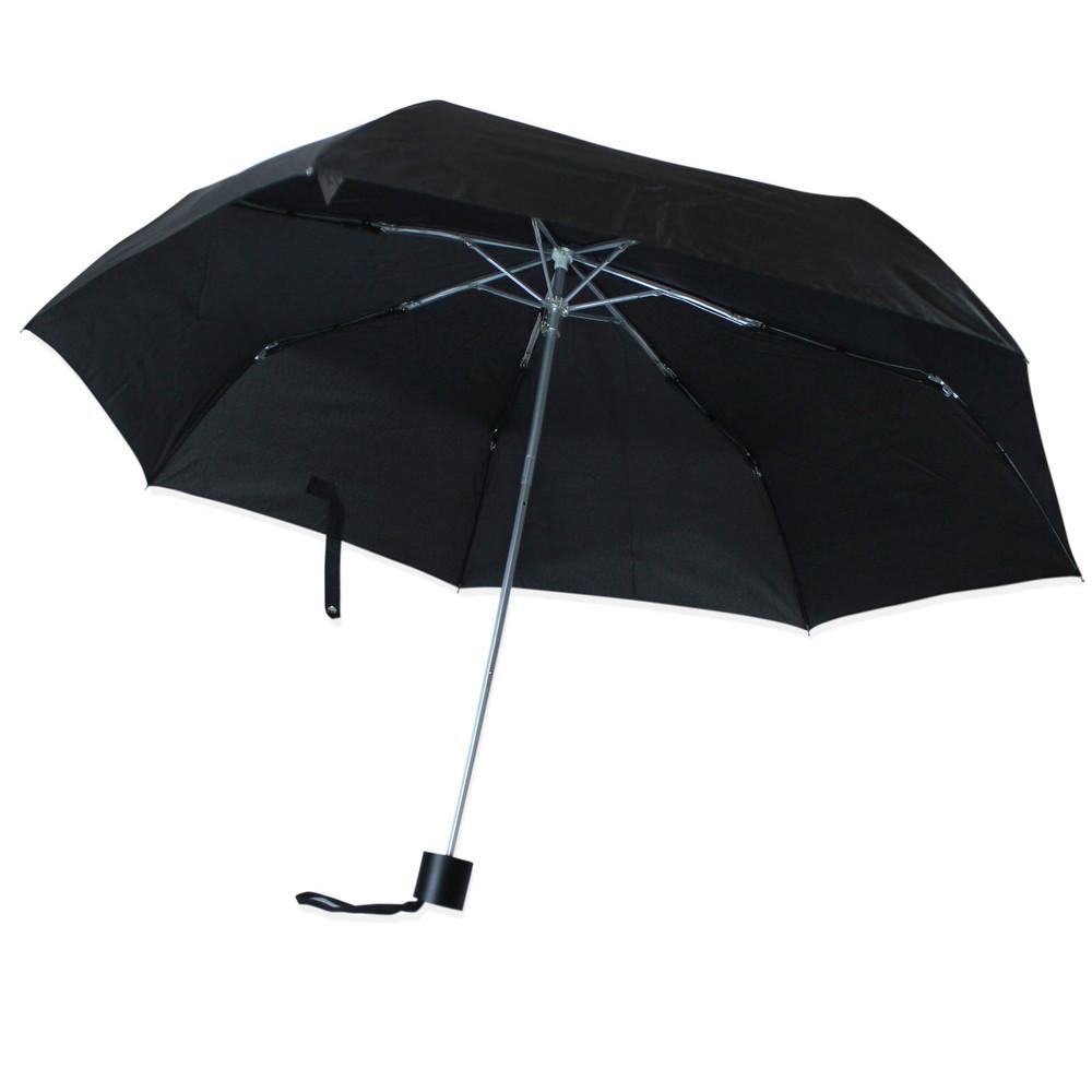 Зонт складной полуавтомат. черный. фото №1