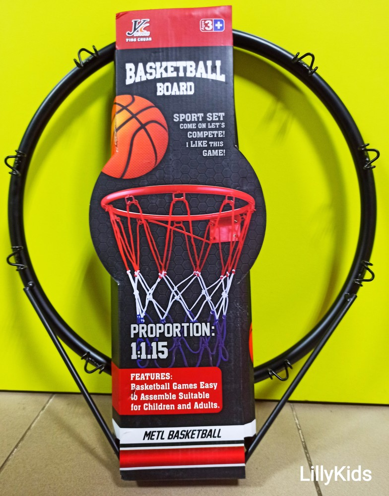 """Баскетбольне кільце металеве mr 0169, 39см : сітка, м""""яч, насос, кріплення фото №1"""