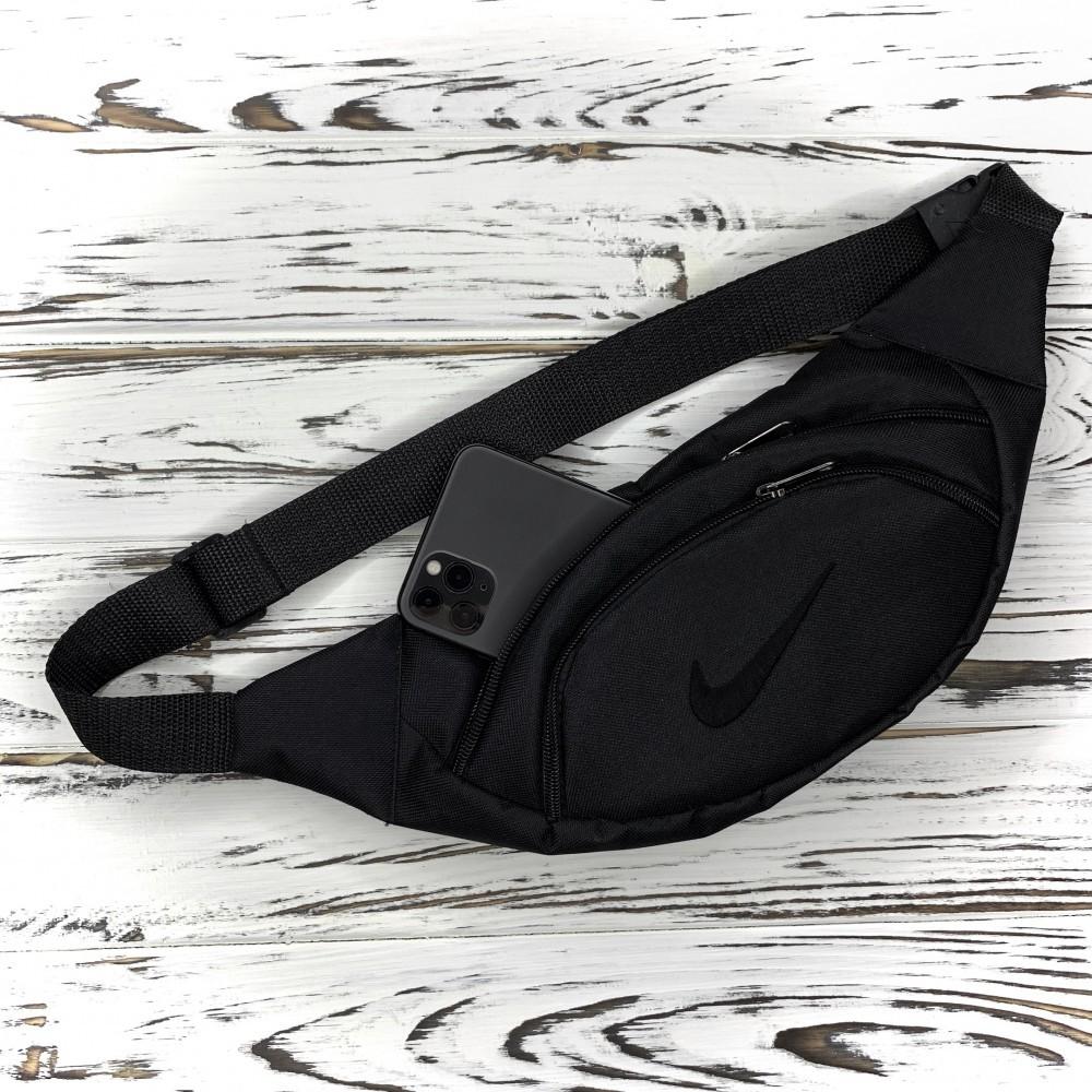 Мужская поясная сумка nike, бананка, черная фото №1