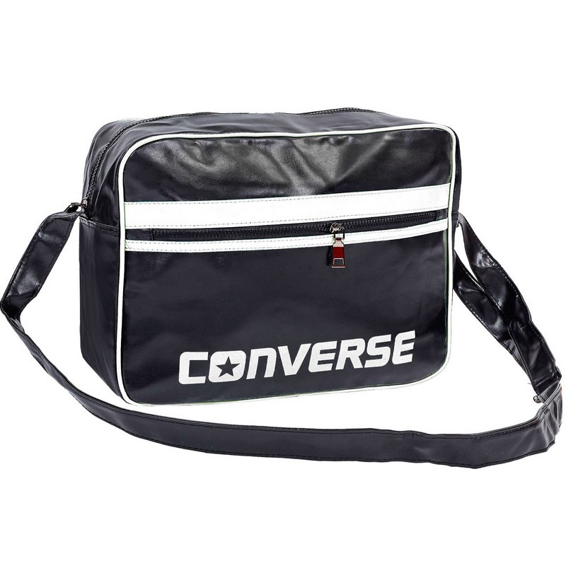 Сумка лакированная через плечо converse 4116: размер 28х37х12см black-white фото №1