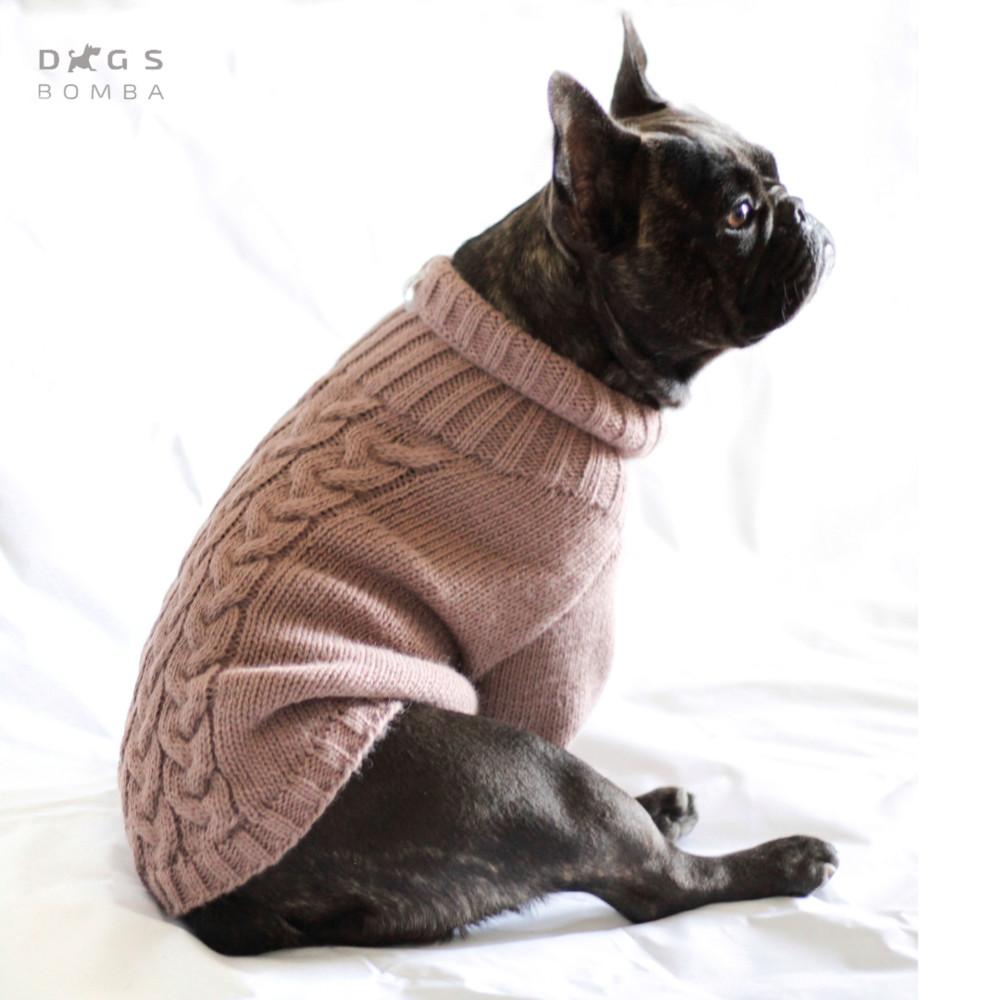 Вязаный свитер косичка для собак и котов какао фото №1