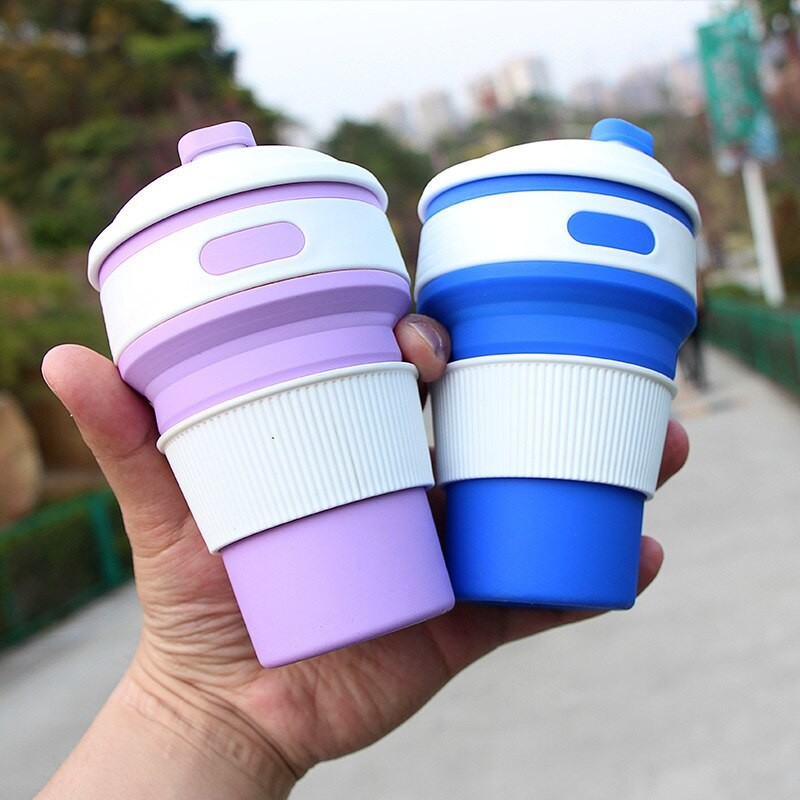 Складная силиконовая чашка с крышкой 350 ml, кружка для путешествий фото №1
